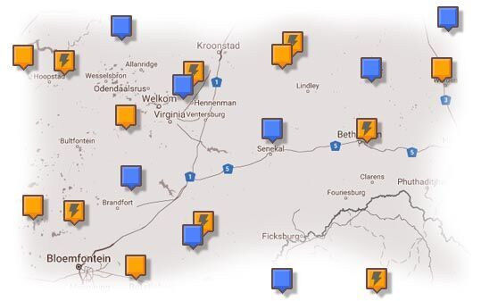 Map of Free State Accommodation